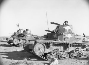 Captured Italian tanks at Tobruk