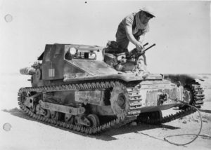 A Bren carrier used as a main battle tank