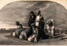 Musulmani in preghiera. Litografia