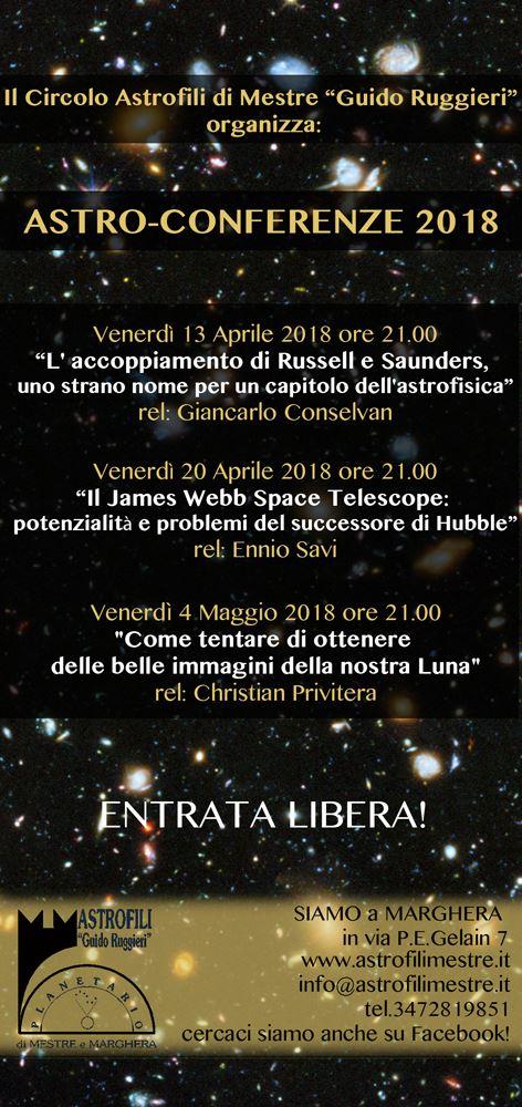 locandina conferenze circolo astrofili 2018